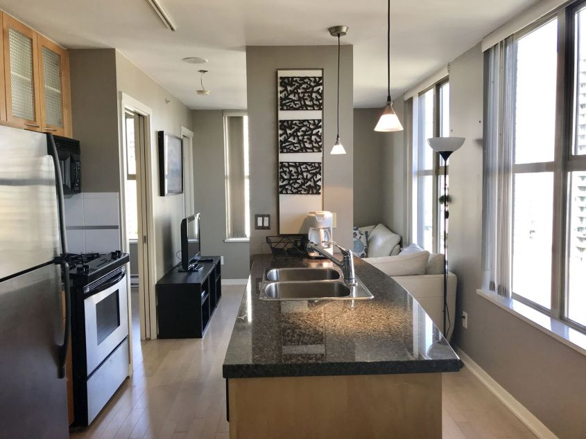 Fully Furnished 1 Bed/1Bath at Mondrian by BOSA in Downtown Vancouver
